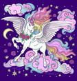 beautiful unicorn with a long mane on a dark blue vector image