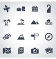 Black travel icon set