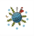 Blue ball with Christmas trees Santa Claus vector image