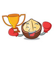 boxing winner macadamia mascot cartoon style vector image vector image