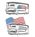 bus with american flag vector image vector image
