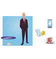 businessman manager in a business suit stands vector image