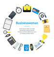 cartoon businesswoman accessory banner card circle vector image vector image