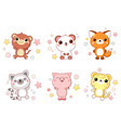 collection cute animals baby vector image vector image