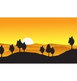 Collection of nature landscape with tree on hill vector image vector image