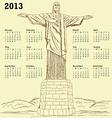 cristo redentor 2013 calendar vintage vector image vector image