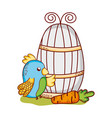 cute animals blue parrot and carrot cartoon vector image