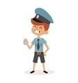 Cute cartoon character of policeman boy in uniform vector image vector image