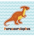 Cute cartoon smiling parasaurolophus on blue wave vector image vector image