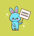 cute rabbit holding board happy easter bunny vector image