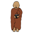 Cute young monk cartoon vector image