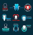 dental clinic or dentist office symbols with tooth vector image vector image