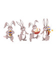 easter rabbit with painted eggs and flowers vector image vector image