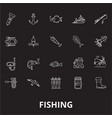 fishing editable line icons set on black vector image