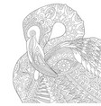 flamingo adult coloring page vector image vector image