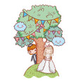 girl and boy marriage with trees and party flags vector image vector image