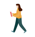 girl reading a book and walking flat style vector image