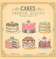 hand-drawn collection cakes vector image