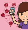 happy girl with smartphone in hand boy talk social vector image vector image
