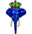 head blue elephant with crown artwork vector image