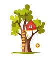 house on tree with ladder and swing playground or vector image