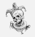 human skull dead jester in vintage style retro vector image vector image