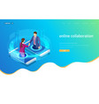 isometric business handshake global online vector image vector image