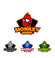 monkey face sport logo template vector image vector image