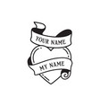 old school tattoo emblem label with heart symbol vector image vector image