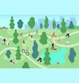 people in summer park city green garden men vector image vector image