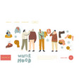 people in warm clothes for outdoor walking landing vector image