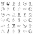person icons set outline style vector image vector image