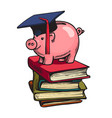 piggy bank in graduation hat on stack books vector image vector image