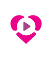 pink heart combined with play symbol vector image