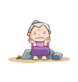 sad old lady sit on the stone vector image vector image