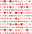 seamless background with patterned hearts dots vector image