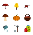 Season of year autumn icons set flat style vector image vector image