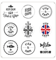 set fish and chips labels and badges vector image vector image