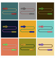 set of icons in flat design jump rope vector image