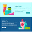 skincare cosmetic promotional internet banners vector image vector image