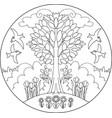spring tree mandala vector image vector image