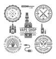 vape shop e-cigarette and e-liquid emblems vector image vector image