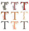 various combination fishnet letter t vector image vector image