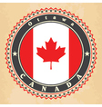 Vintage label cards of Canada flag vector image vector image