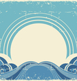 Vintage sea waves and sunAbstract nature image vector image vector image