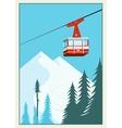Vintage Winter cartoon background poster Red ski vector image vector image