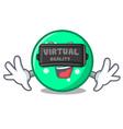 virtual reality circle mascot cartoon style vector image