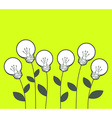 white lightbulbs growing on green backgro vector image vector image