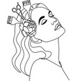 woman hairdresser linear art vector image