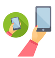Womans hand holding phone in flat design vector image